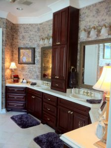 crown molding in high ceiling bathroom triangle cabinet cures