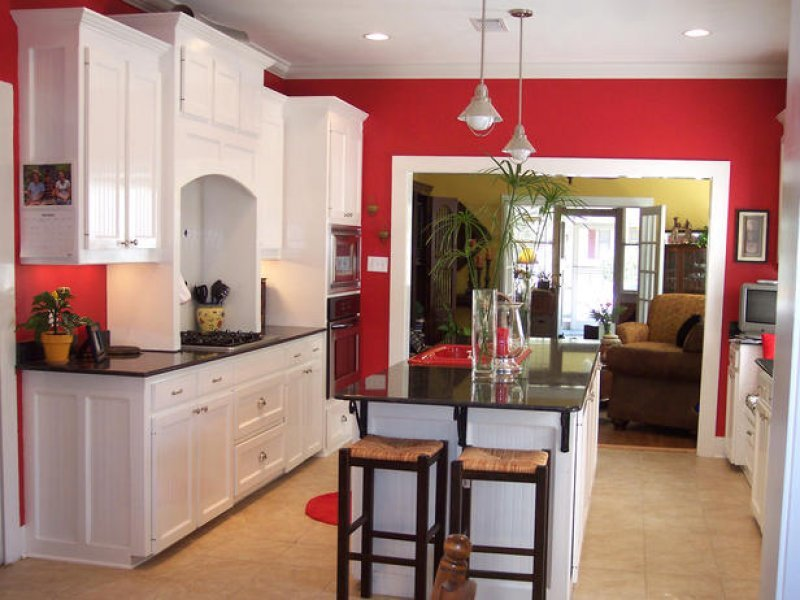 red walls white shaker kitchen cabinets triangle cabinet cures
