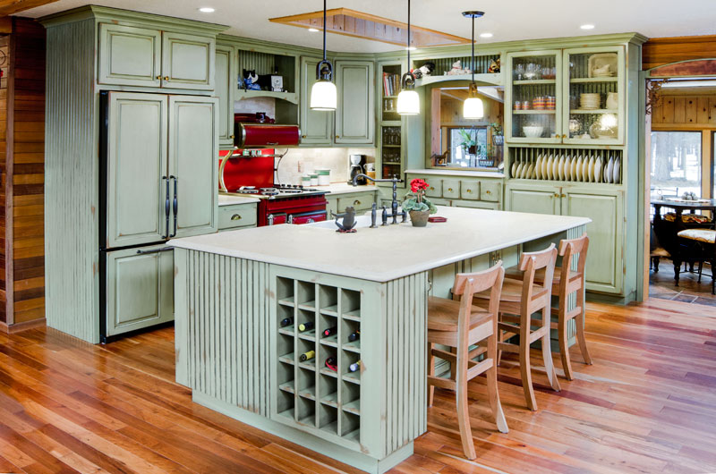 Step one what color best fits your kitchen triangle for Best color for kitchen cabinets for resale