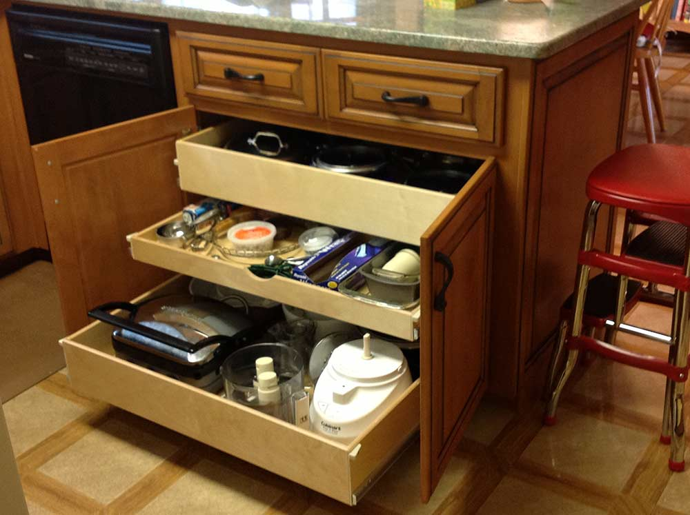 pull-out drawers organization triangle cabinet cures