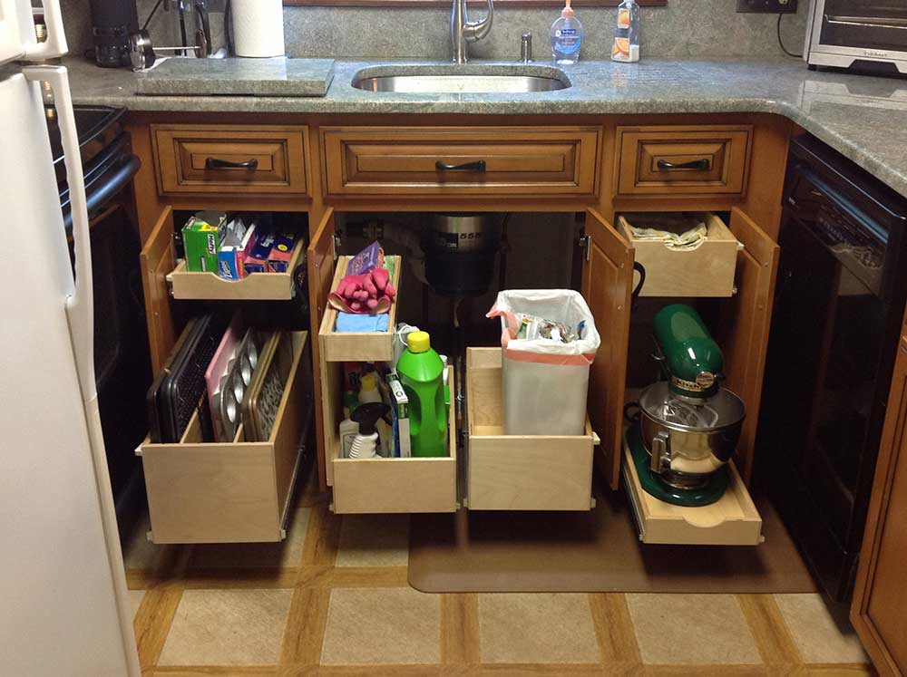 pullout drawers under sink kitchen cabinets triangle cabinet cures