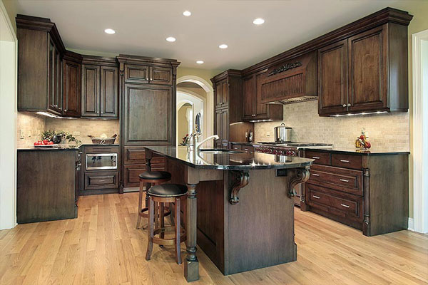 dark stained wood corbels dark wood kitchen cabinets triangle cabinet cures